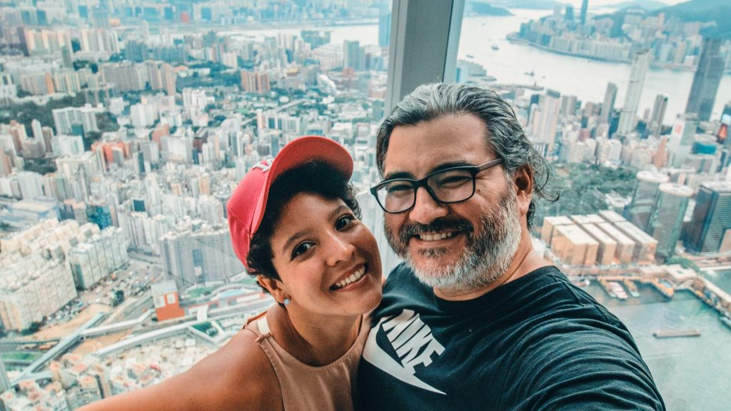 Michelet y yo en el Sky100 de Hong Kong